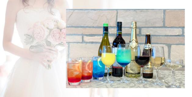 鎌倉プリンスホテル 婚礼向けノンアルコール飲み放題メニュー 中央がオリジナルカクテル「マリンマリアージュ」