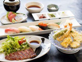 お寿司・ステーキ・天ぷらと欲張りに楽しめる旭コース