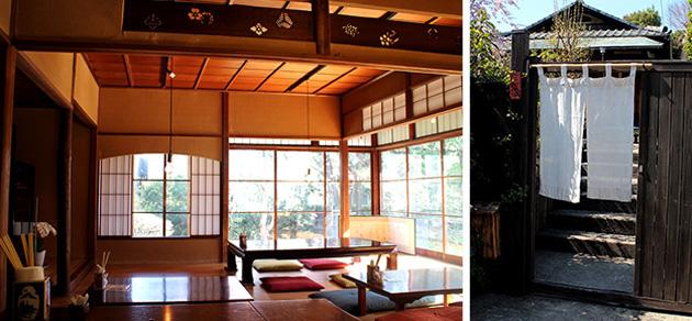 雰囲気のある古風な門構え、ひっそりとした静けさに包まれた室内