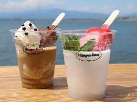 海を背景にリゾート感のあるアイスクリーム