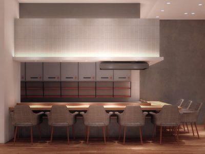 オープンキッチンのカウンター