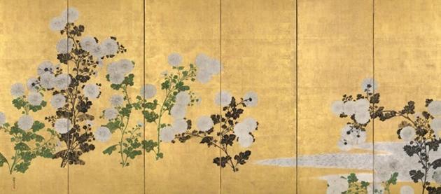 尾形光琳「菊図屏風」(左隻部分) 江戸時代前期 岡田美術館蔵