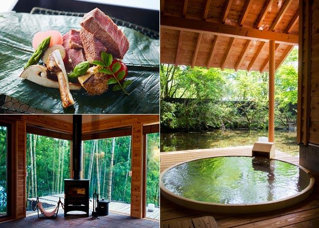 各戸に露天温泉が備えられた贅沢な隠れ家ヴィラ。懐石料理も頂ける