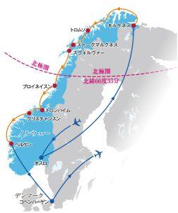 ノルウェー沿岸を行く!フィヨルドの絶景とオーロラ観賞の船旅 航路